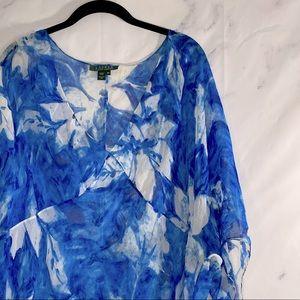 Ralph Lauren silk watercolor floral blouse 16W